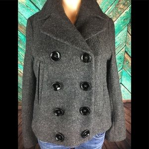 Forever 21 Wool Blend Cropped Pea Coat